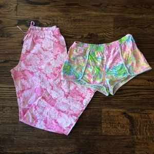 Lilly Pulitzer Pajama Bottoms Lot sz XS EUC